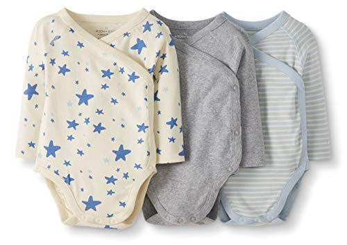 Moon and Back by Hanna Andersson Baby 3-Pack Organic Cotton Long Sleeve Side Snap Bodysuit, Blue, 3-6 months