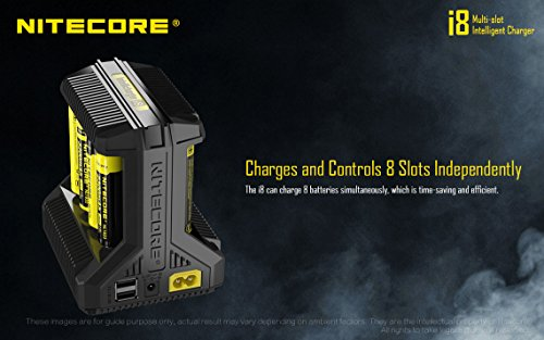 NITECORE i8 Eight Bays Smart Battery Charger for Li-ion/IMR/Ni-MH/Ni-Cd 26650 22650 18650 18490 18350 16340 RCR123 14500 AA AAA AAAA C D USB with EdisonBright BBX3 Battery Carry case by EdisonBright (Image #8)