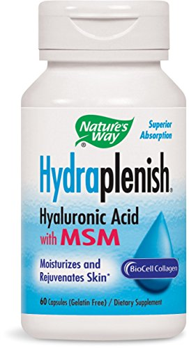 Nature's Way, Hydraplenish, Hyaluronic Acid With MSM, 60 Capsules. Pack of 5 bottles by Nature's Way