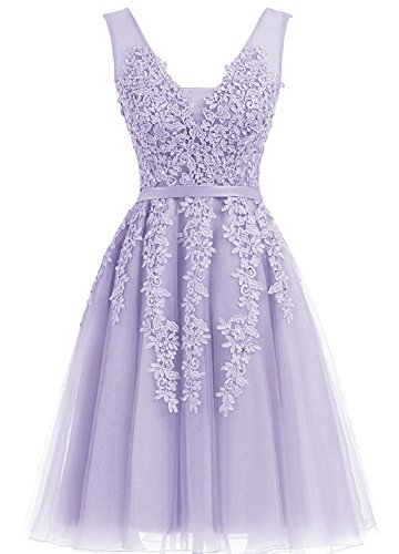 Annadress Women's Sleeveless Homecoming Dresses Short Net Bridesmaid Dresses Appliques Evening Cocktail Gowns Light Purple 2