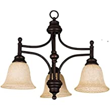 HOMEnhancements 3-Light Down Light Chandelier, Oil Rubbed Bronze With Amber Scavo Glass