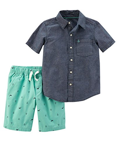 Carter's Boys' Newborn-5T 2 Piece Short Sleeve Sunglass Pocket Polo and French Terry Shorts Set (3 Months, Mint/Chambray)