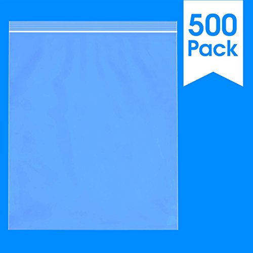 500 Count - 13 X 15, 2 Mil Clear Plastic Reclosable Zip Poly Bags with Resealable Lock Seal Zipper by Spartan Industrial (More Sizes Available)