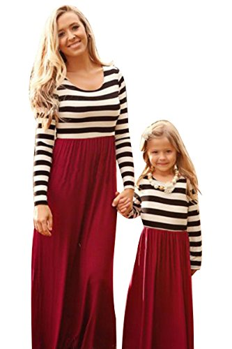 YMING Family Dress Mother and Daughter Long Sleeve Geometric Wave Dress(Kids,4-5 Years) ()