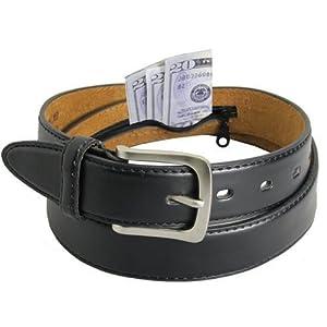4. Men's Black Leather Money Belt Sizes 32 Through 56
