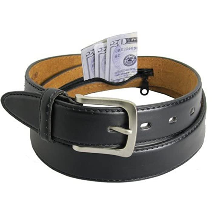 4. Men's Black Leather Money Belt Sizes 32 Through 56