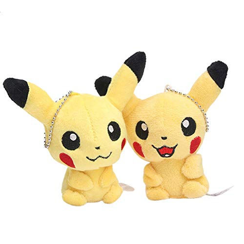 PAPWELL Set 2 Pikachu Toys 4 inch Hot Toy Pokemon Soft Stuffed Plush Christmas Halloween Birthday Stuff Collectable Gift Movie Cartoon Mini Collectible Gifts Cute Small Collectibles for Kids -