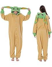 Dam varm fleece onesies pyjamas, baby Yoda cosplay jumpsuit med huva nattkläder för vuxen unisex