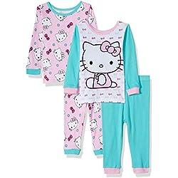 SANRIO - Juego de Pijama de algodón (4 Piezas), diseño de Hello Kitty, Gato Blanco, 18 Meses