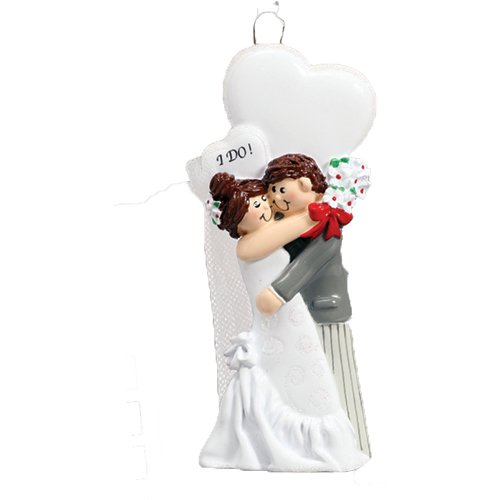 Personalized I do Christmas Ornament for Tree 2018 - Just Married Brunette Newlywed Couple Hugs White Heart - Brown Hair Bride Groom 1st Ceremony Romantic Wedding Love First I do Free Customization -