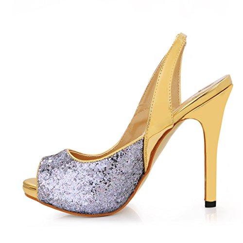 Talón Mujeres Anual Clic Zapatos Gris Silver De En Alto Pescado Banquete Haga Gray Chip Punta Mostrar Nuevo Rzwtw7q