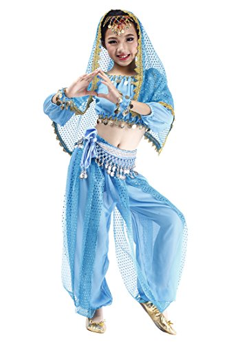 Halloween Coin Set (Feimei Girl's Exotic Jasmine Belly Dance Costume Set With Halter Top Harem Pants and Sequin Coins Designed For Performance Cosplay Carnival and Halloween Party (Turquoise,Medium))