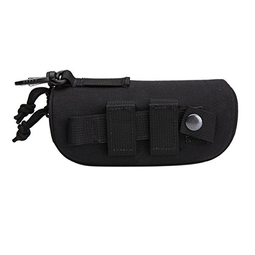 Polemax Tactical Molle Zipper 1000D Nylon Sunglasses Case Eyeglasses Hard Case Outdoor Portable Travel Carry Glasses Case (Black), Large