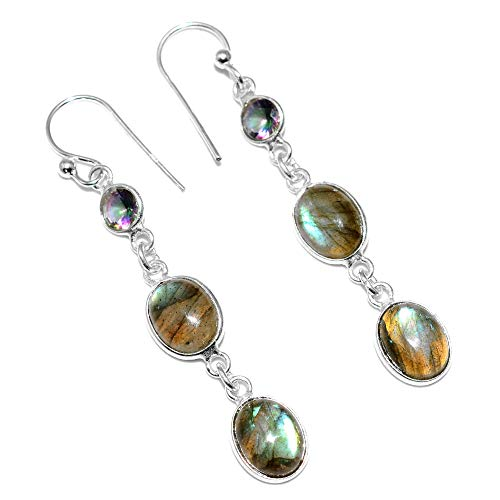 - Silver Palace Sterling Silver Handmade And Natural Labradorite, Mystic Topaz Earrings for Womens and Girls
