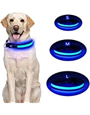 OMERIL LED Dog Collar, Rechargeable Light Up Led Dog Collar Waterproof with 3 Lighting Modes, Safety Super Bright Flashing Light Dog Collar for Small, Medium, Large Dogs