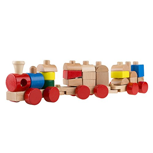Engine Roundhouse Train Set - Hey! Play! Wooden Toy Stacking Learning Train Set with 20 Interchangeable Wooden Blocks for Boys and Girls, Toddlers