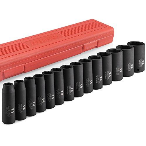 "Neiko 02475A 1/2"" Drive Deep Impact Socket Set, Cr-V Steel, 6-Point | 14-Piece Set | Metric 11 - 32mm (Husky 11 Piece Impact Socket Set)"