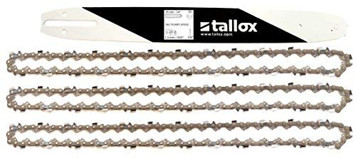 3 tallox 14 Inch chainsaw chains and bar combo 3/8 LP .050 Inch 50 drive links fits Stihl saws by tallox
