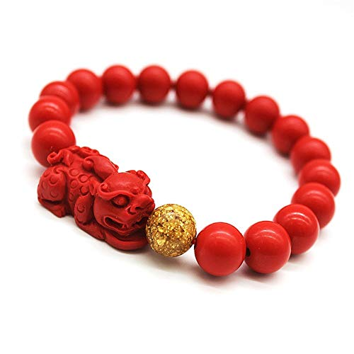 - Feng Shui Amulet Bracelet Porsperity 10mm Cinnabar Bead Bracelet with Gold Plated Pi Xiu/Pi Yao Attract Lucky Wealthy Bangle