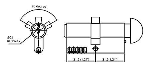 Rockwell 90 Degree Solid Brass Euro Profile Cylinder Lock in Oil Rubbed Bronze Durable hardware door locks, Door hardware