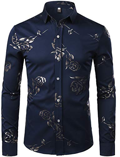 (ZEROYAA Mens Hipster Gold Rose Printed Slim Fit Long Sleeve Dress Shirts/Prom Performing Shirts Z56 Navy Blue XX Large)