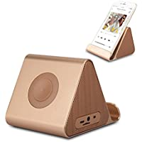 Ultra-Portable Rechargeable Speaker Stand, Bluetooth Speaker with Built-in Mic for Smartphones: iPhone 6 Plus, 6, 5S, 5C, 5, Galaxy S6 Edge, S6, S5, Nokia, Motorola, Nexus - Golden