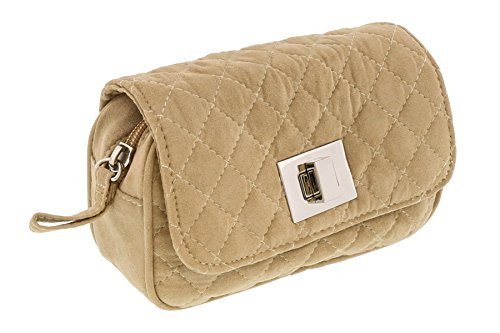 (Scheilan Camel Suede Quilted Boxy Crossbody Bag for Womens)