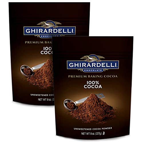 Ghirardelli Chocolate Unsweetened Cocoa Pouch, 8 Ounce | 2-Pack