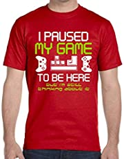 I Paused My Game to Be Here Gamer T Shirt for Men, Funny Paused Game Video Gamer Tshirts
