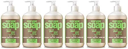 Everyone Botanical 3-in-1 Soap, Mint and Coconut, 16 Fl Oz (Pack of 6)