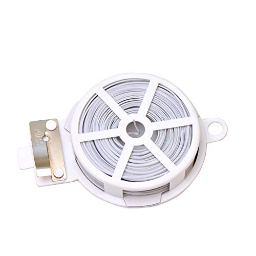 1 Roll Coil 50M 164 FT White Metal Sealing Rope Multi-Function Sturdy Tie-Up Device with Cutter Plastic Wrapped Wire Twist Tie Wired String for Home Gardening Office (Clear Twist Ties)