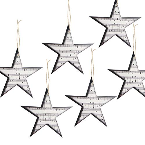 12Pcs Retro Paper Music Star Garland Christmas Tree Ornaments Home Rock Roll Party Decoration SUNBEAUTY -