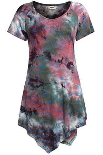 Bohemian T Shirts for Women,Bepei Tie Dye Short Sleeves Uneven Hem Pink Green M