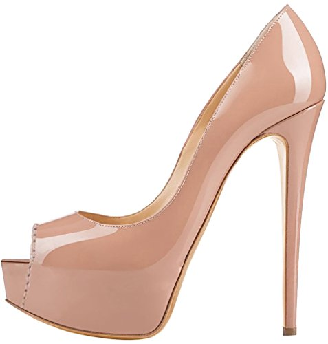 De de vestir Sandalias Aguja Ponerse Mujer Caroad Tacón Rosa 15CM Sintético Zapatos Calaier vntzZxT
