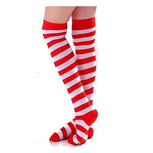 Halloween Costume Red and White Striped Socks Medium Over Knee High Opaque Stockings Christmas Socks]()