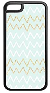 Pale Green with White/Glitter Chevrons- Case for the APPLE IPHONE 5, 5s-Hard Black Plastic Outer Case with Tough Black Rubber Lining
