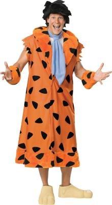Adult Flintstone Costumes (The Flintstones Fred Costume, Orange/Black, X-Large)