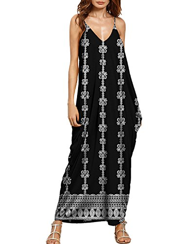 Auxo Women Sleeveless Maxi Dress Floral Sundress Printed V Neck Strappy Long Dresses Cover up 5 XL