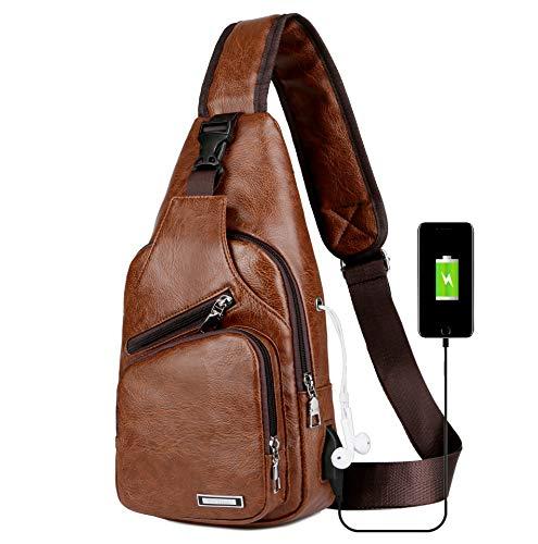 Urmiss Men's Leather Sling Bag Chest Bag One Shoulder Bag Crossbody Bag Backpack for Men