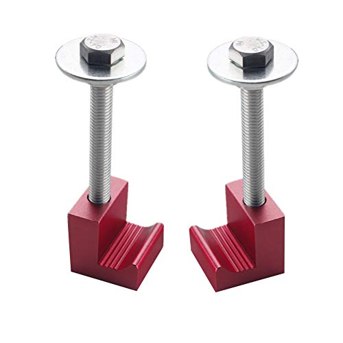 DEWHEL Premium Tool Box Tie Downs Aluminum J Hook Crossover Toolbox Pickup Truck Universal Fit (2 PCS, Red) (Best Truck Tool Box)
