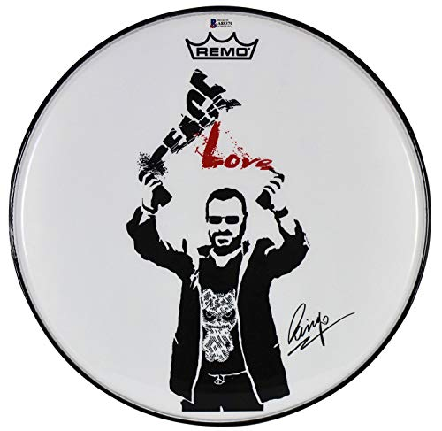 Ringo Starr Beatles Authentic Autographed Signed 14 Inch Peace Love Drum Head Bas #A88379
