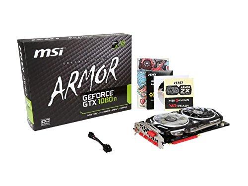 MSI GTX 1080 TI ARMOR 11G OC GAMING GeForce GTX 1080 Ti 11GB GDDR5X 352-bit DirectX 12 VR Ready Graphics Card