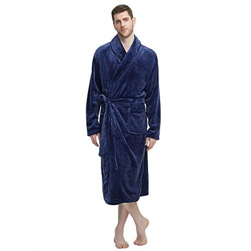 (U2SKIIN Mens Fleece Robe Plush Collar Shawl Bathrobe(Navy,L/XL))