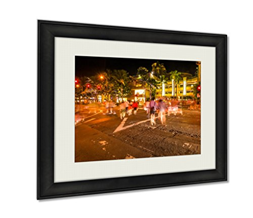 Ashley Framed Prints, Waikiki People Shopping, Wall Art Decor Giclee Photo Print In Black Wood Frame, Ready to hang, 20x25 Art, - Hi In Shopping Honolulu