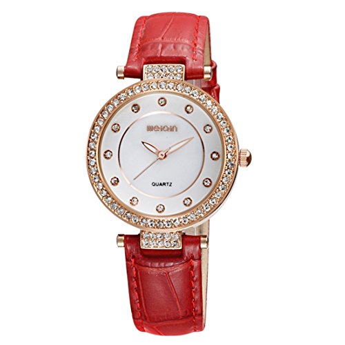 (VAXT Organise 3819 Stylish and Concise Diamond Dial Bezel Quartz Wrist Watch with Genuine Leather Band & Luminous Function for Women (Color : Red))