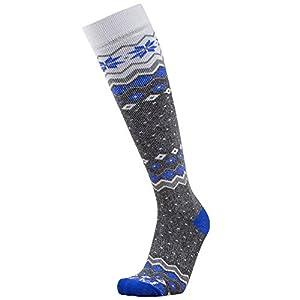 Midweight Ski Socks – Warm Skiing Sock, Snowboard Socks – Merino Wool, Moisture Wicking Winter Socks (M, Grey/Blue)