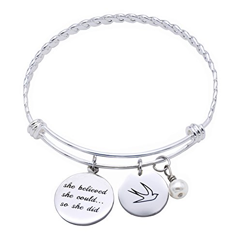 ORIYA Stainless Steel She Believed She Could So She Did bracelet Gift For Women girl, Inspirational bracelet (Grey-Bracelet)