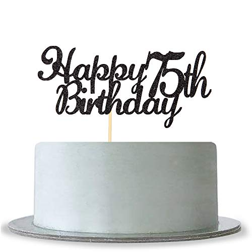 Happy 75th Birthday Cake Topper Black Glitter Cheers To 75 Years75 Fabulous