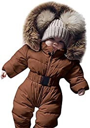 Cuekondy Infant Toddler Baby Boy Girl Winter Jacket Coat Down 3-24 Months Zip Hooded Jumpsuit Romper Warm Thic