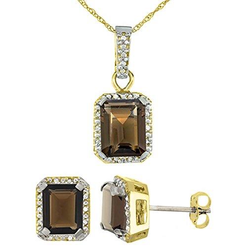Or jaune 9Ct naturel octogone 8x 6mm topaze fumé Boucles d'oreilles et pendentif Set Accents de diamant
